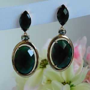Gold Earrings with Dark Green Crystals